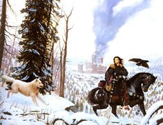 Jon Snow and Ghost... can't tell if it's beyond the Wall or at Winterfell. help?