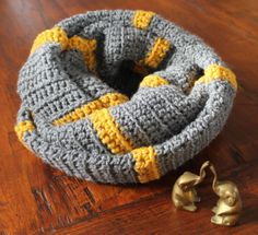 Grey and Gold Infinity Scarf wrap fit by nimwitstudio on Etsy, €35.00