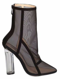 differently 1a68f e6f91 Black Ankle Boot Pallas Mesh Bootie Pointy Toe Lucite Clear Perspex Block  Heel CapeRobbin