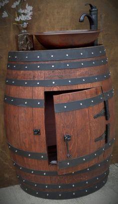 French Oak Half Wine Barrel Bathroom Sink