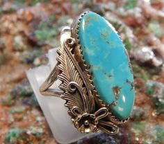 Native American Sterling Turquoise Ring signed by fatcatantique