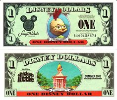 2005 Chicken Little Disney Dollar Disney Money, Disney Diy, Disney Crafts, Disney Pixar, Disney Characters, Disney Stuff, Chicken Little Disney, Printable Play Money, Disney Activities