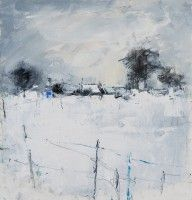 Hannah Woodman Snow Study, Cornish Village mixed media Pencil and oil on paper 10 x 9.5 ins (25 x 24 cms