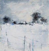 Hannah Woodman Snow Study, Cornish Village mixed media Pencil and oil on paper 10 x 9.5 ins (25 x 24 cms