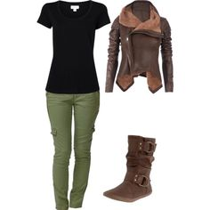 """""""just want to dress like Katniss"""" by idmarryjenny on Polyvore - it's true...I want to spend all of fall and winter dressed like katniss."""
