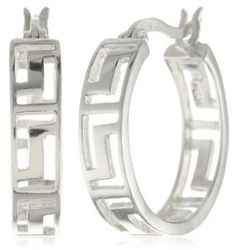 Sterling Silver Greek Key Cut-Out Hoop Earrings by Amazon Curated Collection available at joyfulcrown.com