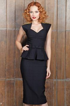 Black Icon Peplum Dress
