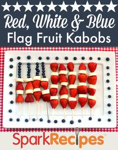 Wow your guests this Independence Day with these fun and healthy fruit kabobs! | via @SparkPeople #food #recipe #party #America #flag #patriotic #July
