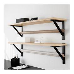 EKBY JÄRPEN / EKBY VALTER Wall shelf, birch veneer, black birch veneer/black 46 7/8x11
