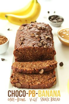 Chocolate Peanut Butter Banana Snack Bread! #vegan #glutenfree and One Bowl!