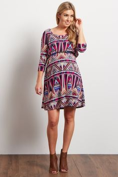 You can be sure to look beautiful through all of motherhood's transitions with this tribal maternity dress. A feminine, belted style shows off your bump effortlessly for any occasion this year. Style this maternity dress with heels for date night or pair with flats for a casual look.
