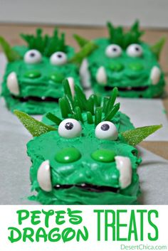 Looking for an easy dragon dessert idea to celebrate Pete's Dragon arriving in theaters? These no-bake Pete's Dragon Treats are super fun and yummy!