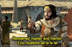 """Renowned master and mentor, Ezio Auditore de la la la! """"assassin's creed-ezio-ac-ezio auditore-AC:R-yusuf tazim-it was a good scene though ok lets be honest-excited yusuf meetin ghis senpai his ignorance can be forgiven-picture source wikipedia clicky the image for it ok friends"""" by asscreedcomics on rebloggy.com."""