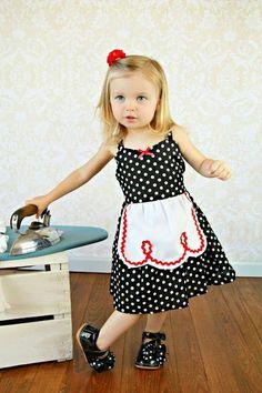Retro Polka Dot apron dress with RED trim por loverdoversclothing, $37,00