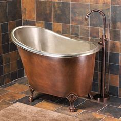 """Photos: 48"""" Abbey Hammered Copper Slipper Soaking Tub with Nickel Interior on Claw Feet 