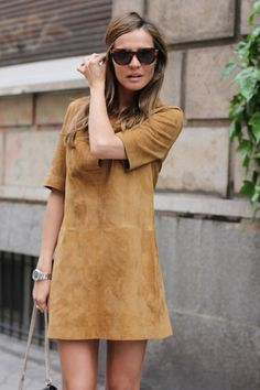 justthedesign:  Suede Dress Outfit: Silvia Zamora is wearing a camel suede mini dress from Zara