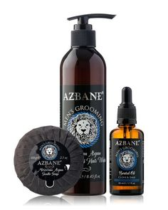 We are pleased to introduce our Azbane Beard Beard combi deal 01.  This combi deal includes :  AZBANE, MOROCCAN ARGAN, BEARD AND HAIR WASH – 250ml AZBANE, MOROCCAN ARGAN, BEARD OIL – CLOVE AND SAGE – 50ml AZBANE, MOROCCAN ARGAN, GENTLE SOAP – 60gr