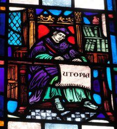 Bibliothèque de Boston College (BC) - Vitrail représentant Thomas More travaillant à son ouvrage Utopia.