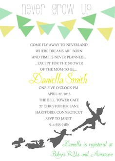Peter Pan Baby Shower Invitation- PDF ONLY at this time by aDazzlingPlace on Etsy https://www.etsy.com/listing/218812751/peter-pan-baby-shower-invitation-pdf