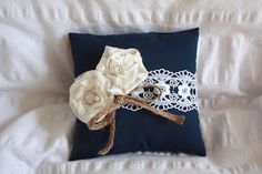 Sweet Navy Blue Rustic Ring Bearer Pillow