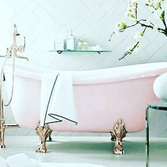 Astounding Useful Ideas: Vintage Home Decor Inspiration Apartment Therapy old vintage home decor shabby chic.Vintage Home Decor Kitchen Lights vintage home decor kitchen smeg fridge.Vintage Home Decor Cottages. Vintage Bathtub, Vintage Bathrooms, Antique Bathtub, 1920s Bathroom, Pink Bathrooms, Bathrooms Decor, Luxury Bathrooms, Pink Houses, Retro Home Decor