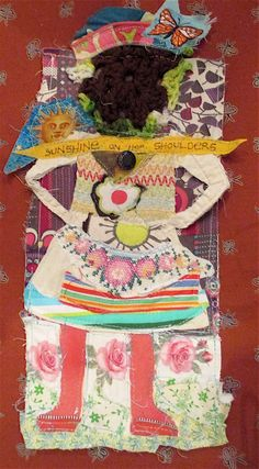 MyBonny Fabric Scraps Collage Folk Art --sunshine on her shoulders -   Recycled Materials