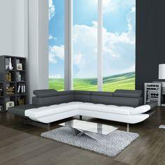 Le canapé d'angle fixe Aurès vous reposera les méninges avec ses têtières réglables. #canape #angle #tetieres