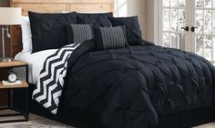 Cozy overfilled comforter set made with stylish pinch pleat detailing that brings understated elegance to bedrooms