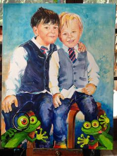 Kinderporträt mit Frösche, Acryl Illustration, Painting, Fictional Characters, Art, Watercolour Paintings, Dragons, Funny, Art Background, Painting Art