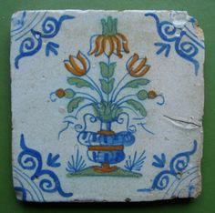 Delft tile with polychrome floral decoration- Dutch Delft Tiles, Blue Tiles, Mosaic Tiles, Antique Tiles, Blue Design, Vintage Postcards, Flower Art, Arts And Crafts, Blue And White