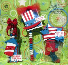 "Created by Trixie using Celebrate America, 6"" Tubes, Candy Charms & Banner Dies, Treat Tag Die, 1x8"" bags, Flag Die 2, Fancy Topper Die. http://jadedblossom.bigcartel.com/"