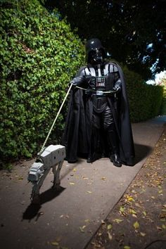 darth vader walking the dog