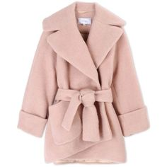 Carven Oversized Cocoon Coat ($1,050) ❤ liked on Polyvore featuring outerwear, coats, jackets, coats & jackets, casacos, pink, pink oversized coat, oversized wrap coat, long sleeve coat and wrap coat