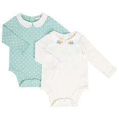 Buy John Lewis Baby Collar Bodysuits, Pack of 2, Blue/Cream Online at johnlewis.com
