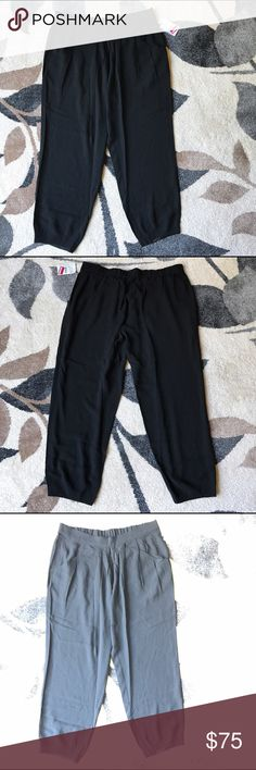 NWT: Eileen Fisher Black Silk Pants New With tag; the purpose of the overexposed photos is to show the detailing on the Pants but these pants are black Eileen Fisher Pants