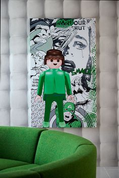 Witty pop art style picture featuring a Lego man - what's more to want?!! Ivory and leaf green with a little black to highlight always looks cool, fresh and contemporary.