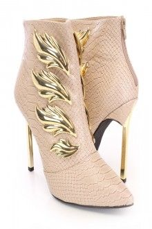 Tan Metallic Scale Wing Booties Faux Leather