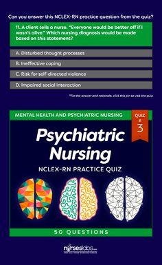 Psychiatric Nursing NCLEX-RN Practice Quiz #3 (50 Questions)