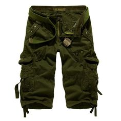 Selling Summer Calf-Length Cargo s shorts Multi-pocket Solid Beach Shorts ris
