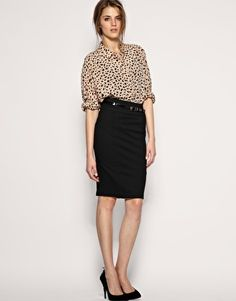 Great personal interview idea- High waisted pencil skirt with ...