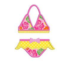 Summer Bikini Bathing Suit Individual APPLIQUE by SewWithLisaB