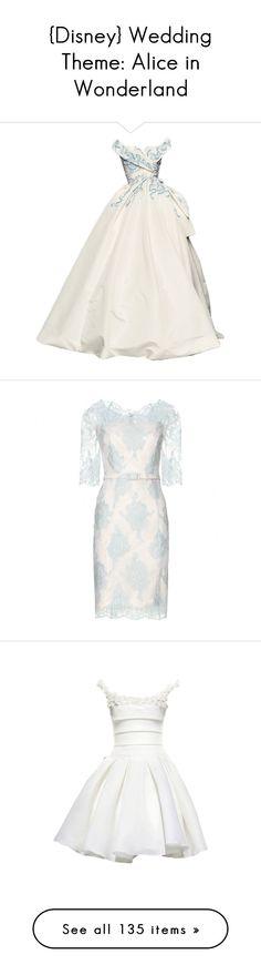 """{Disney} Wedding Theme: Alice in Wonderland"" by fluttershypotter ❤ liked on Polyvore featuring dresses, gowns, long dresses, vestidos, wedding, short dresses, white dresses, light blue, white lace dress e floral print dress"