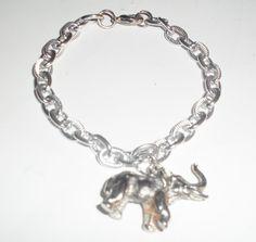 Silver Elephant Bracelet / Elephant Charm by DevineEssence on Etsy, $10.00