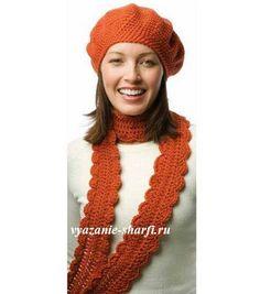 вязаный берет и шарф крючком из 1 мотка