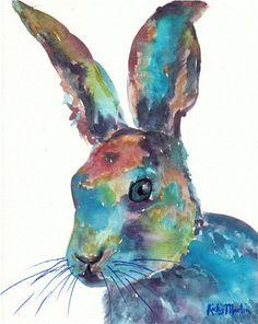 Bunny Rabbit, Fairy Tale,Nursery, Giclee Print from my original Painting - ebsq Artist Ricky Martin