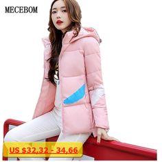 MECEBOM 2017 jacket fFashion simple printing Parka Short Slim Thickening Down Cotton-paddedou coat