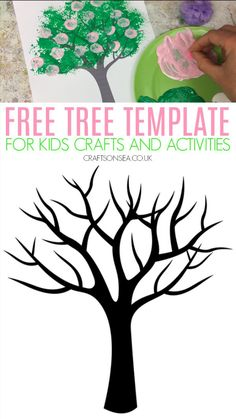 Printable Free tree template for easy kids crafts An easy and cheap idea for kids crafts and activities, use our free tree template with loads of simple ideas for spring, fall and winter painting ideas Halloween Crafts For Toddlers, Summer Crafts For Kids, Mothers Day Crafts For Kids, Christmas Crafts For Kids, Toddler Crafts, Art For Kids, Easy Painting For Kids, Christmas Tree, Tree Templates