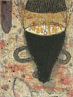 Akiko Taniguchi. Satellite, 2000. Collagraph. Edition of 20. 7-7/8 x 5-7/8 inches.