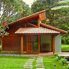 Landscaping Ideas Around Patio Tyni House, House Roof, Sell House, Bamboo House, Wooden House, Tiny House Design, Small House Plans, House In The Woods, Architecture