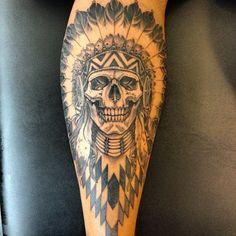 Tattoo by Adam Guy Hays.jpg - Tattoo by Adam Guy Hays.jpg Tattoo by Adam Guy Hays. Indian Chief Tattoo, Indian Skull Tattoos, Indian Head Tattoo, Key Tattoos, Black Tattoos, Body Art Tattoos, Calf Tattoo, Forearm Tattoo Men, Tatoo Crane